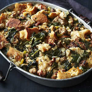 Crisp Top Sourdough Stuffing with Sausage and Greens Recipe