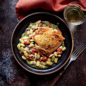 Crispy Chicken Thighs with White BeansRecipe
