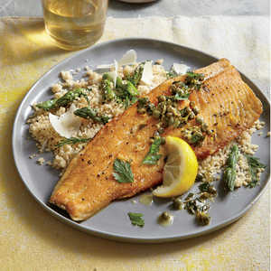 Crispy Trout with Warm Parsley-Caper Vinaigrette Recipe