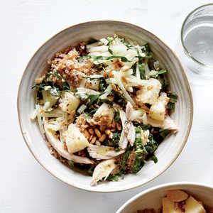 <p>Crunchy Bulgur Bowl with Kale, Chicken, and Pear</p>
