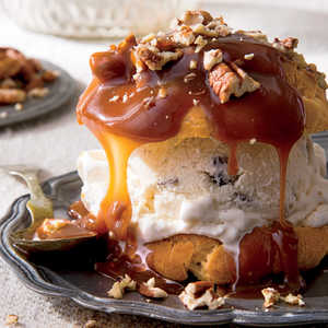 Decadent Cream Puffs with Praline Sauce and Toasted PecansRecipe