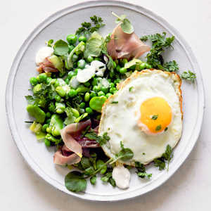 Favas and Peas with Serrano and Fried Eggs (Menestra)Recipe