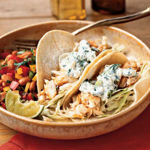 <p>Fish Tacos with Lime-Cilantro Crema</p>