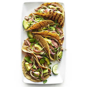 Flank Steak Tacos with Avocado and Red Onion SaladRecipe