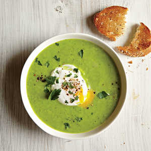 Green Pea and Asparagus Soup with Poached Eggs and ToastRecipe
