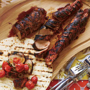 Grilled Ancho-Rubbed Pork with Smoky Tomato SalsaRecipe