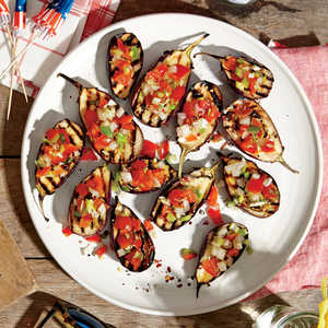 Grilled Baby Eggplants with Green Onion Salsa Recipe