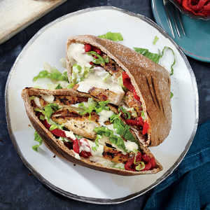 Grilled Chicken Pitas with Sesame DrizzleRecipe