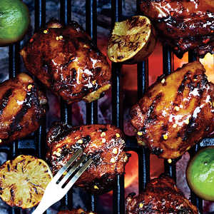 Grilled Chicken Thighs with Ancho-Tequila Glaze Recipe