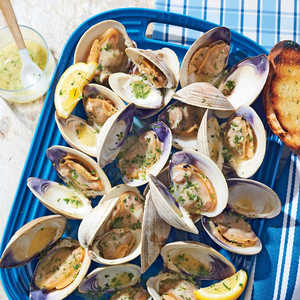 Grilled Clams with White Wine-Garlic ButterRecipe