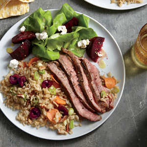 Grilled Flank Steak with Cherry-Pecan Rice Recipe