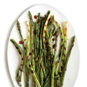 Grilled Green Onions with Spicy Asparagus and Hoisin Recipe