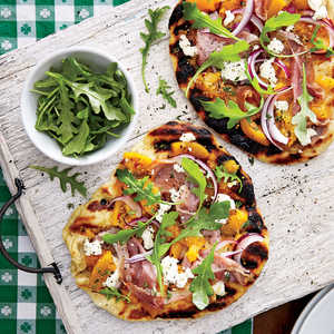 Grilled Peach Chutney Pizza with Prosciutto and Goat CheeseRecipe