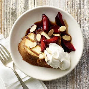 Grilled Pound Cake with Brandied Red PlumsRecipe