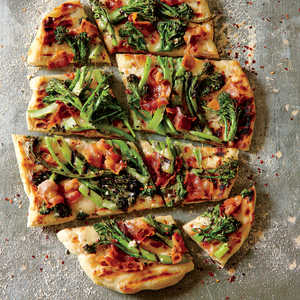 Grilled Purple Sprouting Broccoli and Bacon PizzaRecipe