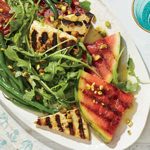 Grilled Watermelon and Halloumi Salad with Minty Green Beans Recipe