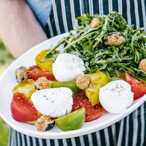 Heirloom Tomato Salad with Arugula, Burrata, and Eggplant Croutons Recipe