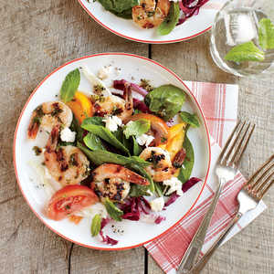 Herbed Shrimp with Tomato-Spinach SaladRecipe