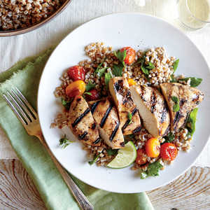 Herbed Wheat Berry and Roasted Tomato Salad with Grilled Chipotle Chicken BreastsRecipe