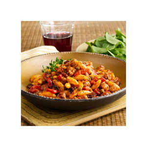 Cavatelli Pasta with Sweet Sausage, Roasted Peppers & Raisins RecipesRecipe
