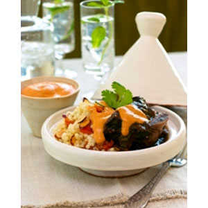 Almond Board Spicy Almond Yogurt Sauce with Braised Beef Short Ribs and Couscous RecipesRecipe
