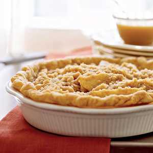 Pear Pie with Streusel Topping and Caramel Sauce Recipe