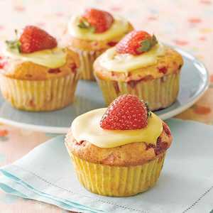 Orange-Glazed Strawberry CupcakesRecipe