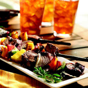 Grilled Beef and Vegetable Kabobs with Crisco® Light Tasting Olive OilRecipe