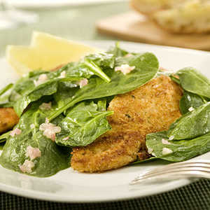 I Can't Believe It's Not Parmesan-Crusted Chicken & Spinach Salad RecipesRecipe