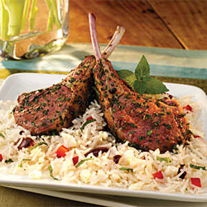 Herb Crusted Lamb Chops with Mediterranean Rice RecipesRecipe