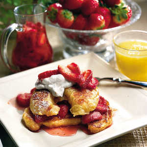 Croissant French Toast With Fresh Strawberry Syrup Recipe