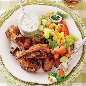 Grilled Buffalo Wings with Salad and Blue Cheese Recipe