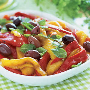 Roasted Peppers with Black OlivesRecipe