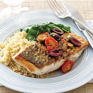 Sea Bass with Tomatoes and OlivesRecipe