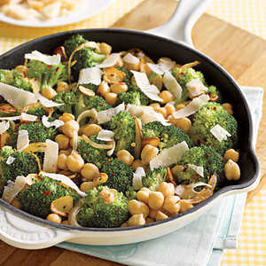 Sautéed Chickpeas with Broccoli and Parmesan Recipe