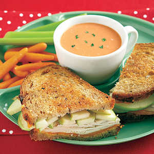 Grilled Turkey, Cheddar and Apple Sandwiches Recipe