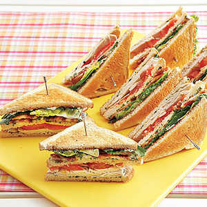 Turkey Club Sandwiches with Herb Mayonnaise Recipe