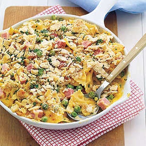 Baked Pasta with Peas, Cheese and HamRecipe