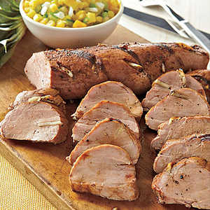 Grilled Pork Tenderloin with Green Tomato-Pineapple SalsaRecipe