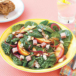 Warm Spinach Salad with Red Onions and NectarinesRecipe