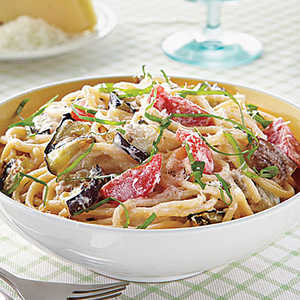 Spaghetti with Eggplant, Ricotta and TomatoesRecipe