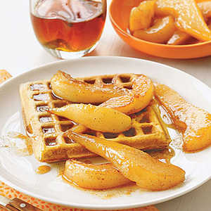 Spiced Waffles with Sauteed PearsRecipe