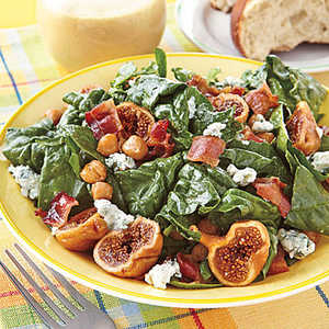 Spinach Salad with Figs and Warm Bacon VinaigretteRecipe