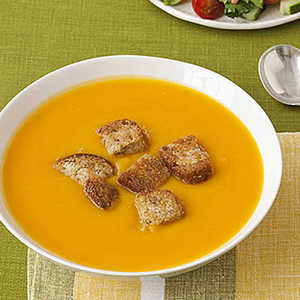 Squash Soup with Whole-Grain Croutons Recipe