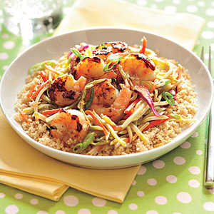 Honey-Ginger Shrimp and Slaw with Couscous Recipe