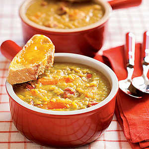 Split Pea Soup with Cheddar ToastsRecipe