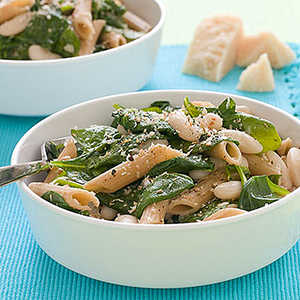 Whole-Wheat Pasta with White Beans and SpinachRecipe
