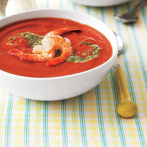 Chilled Tomato Soup with Shrimp and PestoRecipe