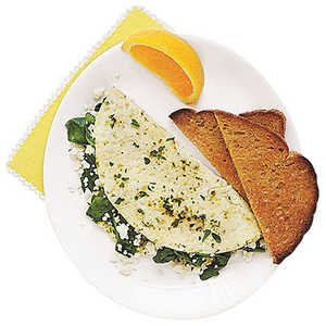 Egg-White Omelet with Spinach, Feta and Herbs Recipe