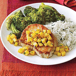 Sauteed Pork Chops with Pineapple and MintRecipe